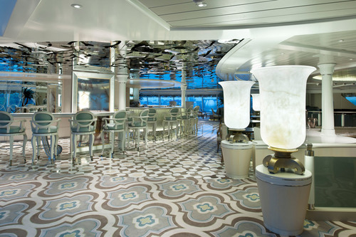 Among the redesigns of Crystal Symphony's gathering spaces was a complete re-do of the ship's Palm Court lounge, a signature space for drinks, dancing, afternoon tea, and vista-gazing.  (PRNewsFoto/Crystal Cruises)