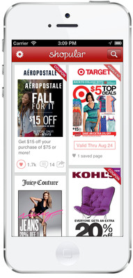 Shopular is the leading mobile app for saving money in stores. Available on iPhone and Android, the innovative mobile app notifies users of personalized sales and coupons when they are near a store or mall.  (PRNewsFoto/Shopular)