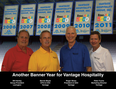 Vantage Hospitality Enjoys Another Banner Year with Sixth Straight Inclusion on Inc. 500/5000 List of America's Fastest-Growing Private Companies.  (PRNewsFoto/Vantage Hospitality)