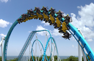 This artist rendering shows how riders will experience GateKeeper's Giant Flat Spin, a hair-raising 360-degree flip that will provide two different ride experiences for guests on each side of the train. The Giant Flat Spin is one of many unique elements the GateKeeper has in store for riders when it debuts in 2013.