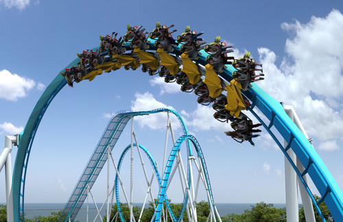 This artist rendering shows how riders will experience GateKeeper's Giant Flat Spin, a hair-raising 360-degree flip that will provide two different ride experiences for guests on each side of the train. The Giant Flat Spin is one of many unique elements the GateKeeper has in store for riders when it debuts in 2013. (PRNewsFoto/Cedar Point)