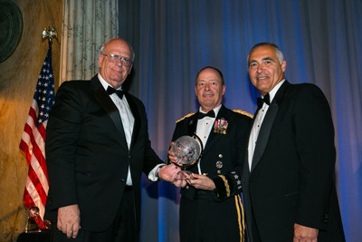 2013 AFCEA David Sarnoff Award Presented to GEN Keith B. Alexander, USA, Commander, U.S. Cyber Command; Director, National Security Agency/Chief, Central Security Service (c), by Kent Schneider, President and CEO, AFCEA International (l) and Al Grasso, Chairman of the Board, AFCEA International (r).   (PRNewsFoto/AFCEA International)