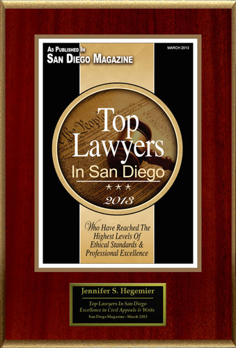 "Jennifer S. Hegemier Selected For ""Top Lawyers In San Diego"".  (PRNewsFoto/American Registry)"