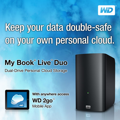 WD'S My Book(R) Live(TM) Duo Personal Cloud Storage With Dual Drives Offers High Capacity or Double-safe File Protection.  (PRNewsFoto/Western Digital Technologies)