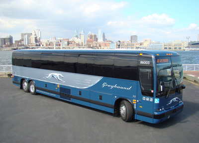 A new Greyhound bus, which features leather seats, extra legroom, Wi-Fi, power outlets, three-point seat belts, on-board restroom and wheelchair lift.  (PRNewsFoto/Greyhound Lines, Inc.)