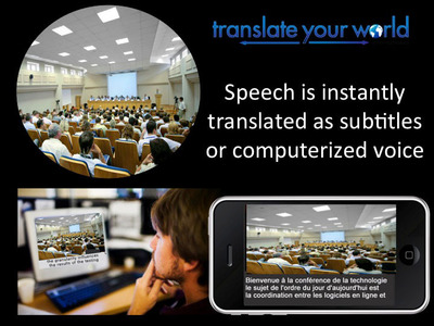 Speak and the words are instantly heard in 35 languages or read as subtitles in 78 languages.  Sue Reager, a writer for Speech Technology Magazine, inventor, and developer of linguistic software, states that voice translation software now enables the world do global business and share information across languages. According to industry expert, Sue Reager, the world can choose to spend 3 to 5 years learning one language, or speak 78 languages in a matter of hours.  (PRNewsFoto/Sue Reager)