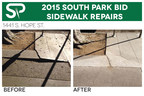 Before and after shots of a repaired sidewalk in South Park