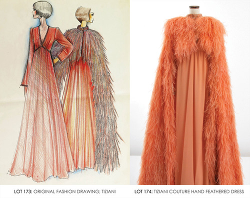 Tiziani beaded coral gown and long, hand-feathered cape with matching original sketch. From the Jan. 11, 2014 Tiziani: Lagerfeld + Liz Auction. Palm Beach Modern Auctions image. (PRNewsFoto/LiveAuctioneers.com) (PRNewsFoto/LIVEAUCTIONEERS.COM)
