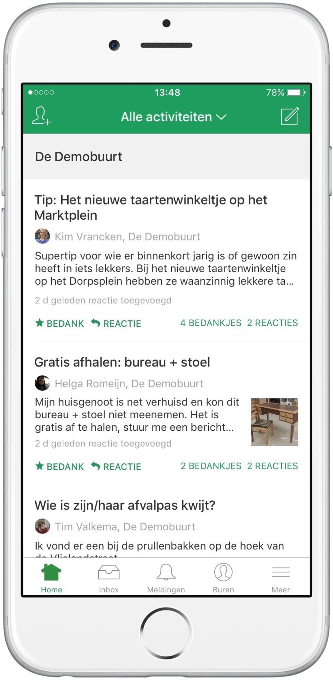 Nextdoor iPhone app in Dutch.