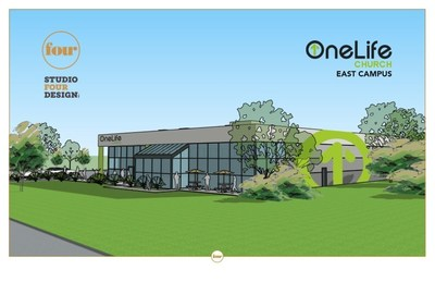 Exterior rendering of the east campus of OneLife Church, located in Knoxville, Tennessee. Designed by Studio Four Design.