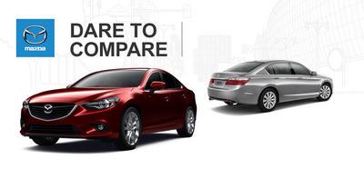 The 2014 Mazda6 offers Americans more mid-size value than the 2014 Honda Accord.  (PRNewsFoto/Mazda of Lodi)