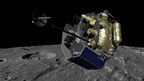 """Moon Express MX-1 spacecraft orbits the Moon in preparation for landing. MX-1 will deliver the """"MoonLIGHT"""" payloads to the lunar surface to help solve the mysteries of Einstein's General Relativity, investigate lunar geophysics, and develop precision navigation """"lighthouses"""" for future missions."""