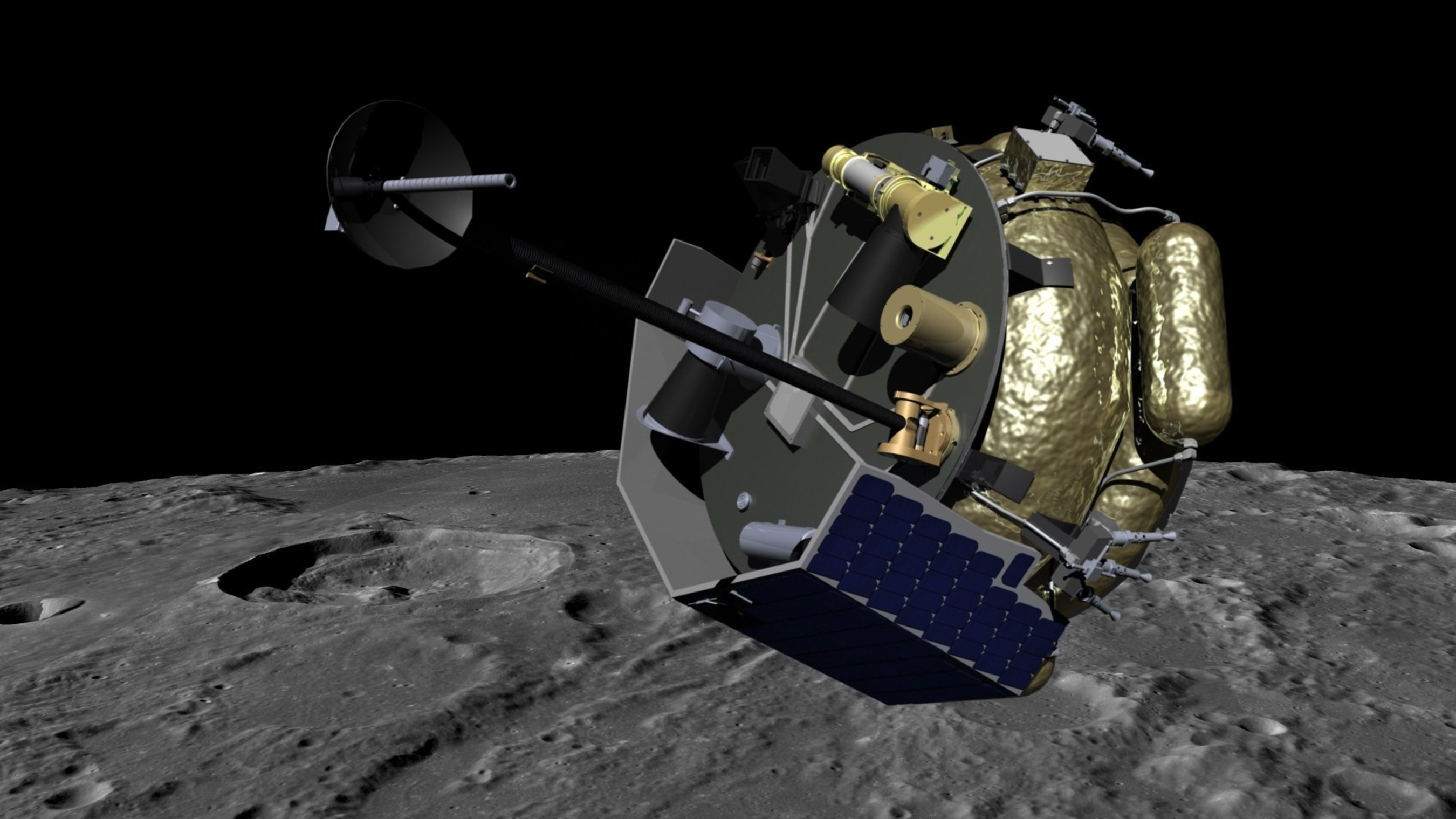 "Moon Express MX-1 spacecraft orbits the Moon in preparation for landing. MX-1 will deliver the ""MoonLIGHT"" payloads to the lunar surface to help solve the mysteries of Einstein's General Relativity, investigate lunar geophysics, and develop precision navigation ""lighthouses"" for future missions."