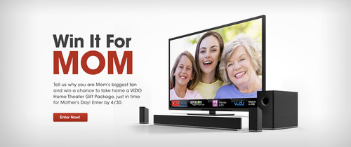 "Honor her by entering VIZIO's ""Win It For Mom"" Contest. (PRNewsFoto/VIZIO, Inc.) (PRNewsFoto/VIZIO, INC.)"