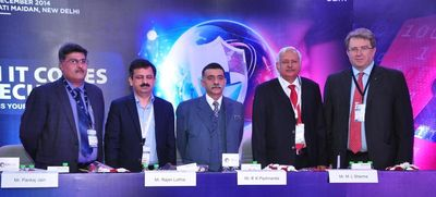 Caption: L-R - Pankaj Jain, Group Director, UBM India; Rajan Luthra, Chairman's office - Corporate Security, Reliance Industries Ltd. and National President, Fire and Security Association of India (FSAI); R. K. Pachnanda, IPS, ADG/ APS - Central Industrial Security Force (CISF); M.L. Sharma, IPS (Retd.), Former Special Director, CBI and Ex Central Information Commissioner; Michael Duck, Executive Vice President, UBM Asia during the inauguration of IFSEC 2014 organized by UBM India in New Delhi