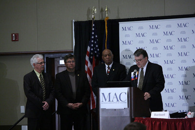 "Sen. Darwin Booher (R-Osceola County), Sen. Tom Casperson (R-Delta County), and Sen. Vince Gregory (D-Oakland County), were presented the ""Friend of MAC"" award by MAC President Thomas Bardwell (R-Tuscola County) at the 2013 MAC Legislative Conference in Lansing, MI.  (PRNewsFoto/Michigan Association of Counties)"