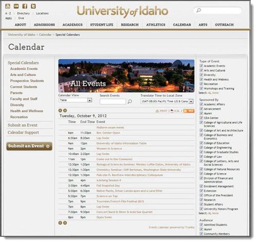 University of Idaho event calendar.  (PRNewsFoto/Trumba Corporation)