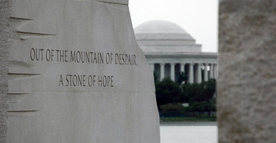 "The inscription on the statue of Martin Luther King, Jr. reads ""Out of a mountain of despair, a stone of hope."" Photo courtesy of @NationalMallNPS."