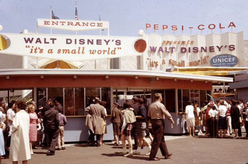 "This 1964 photo shows the entrance to ""it's a small world"" at the New York World's Fair. Disney Parks is celebrating the 50th anniversary of its iconic ""it's a small world"" attraction with a global celebration that benefits UNICEF. Capturing the happy, peaceful spirit of children everywhere, the attraction, which debuted at the 1964 World's Fair, now entertains guests at five Disney theme parks worldwide. Fans around the world are invited to join the celebration at SmallWorld50.com where they may record videos ..."