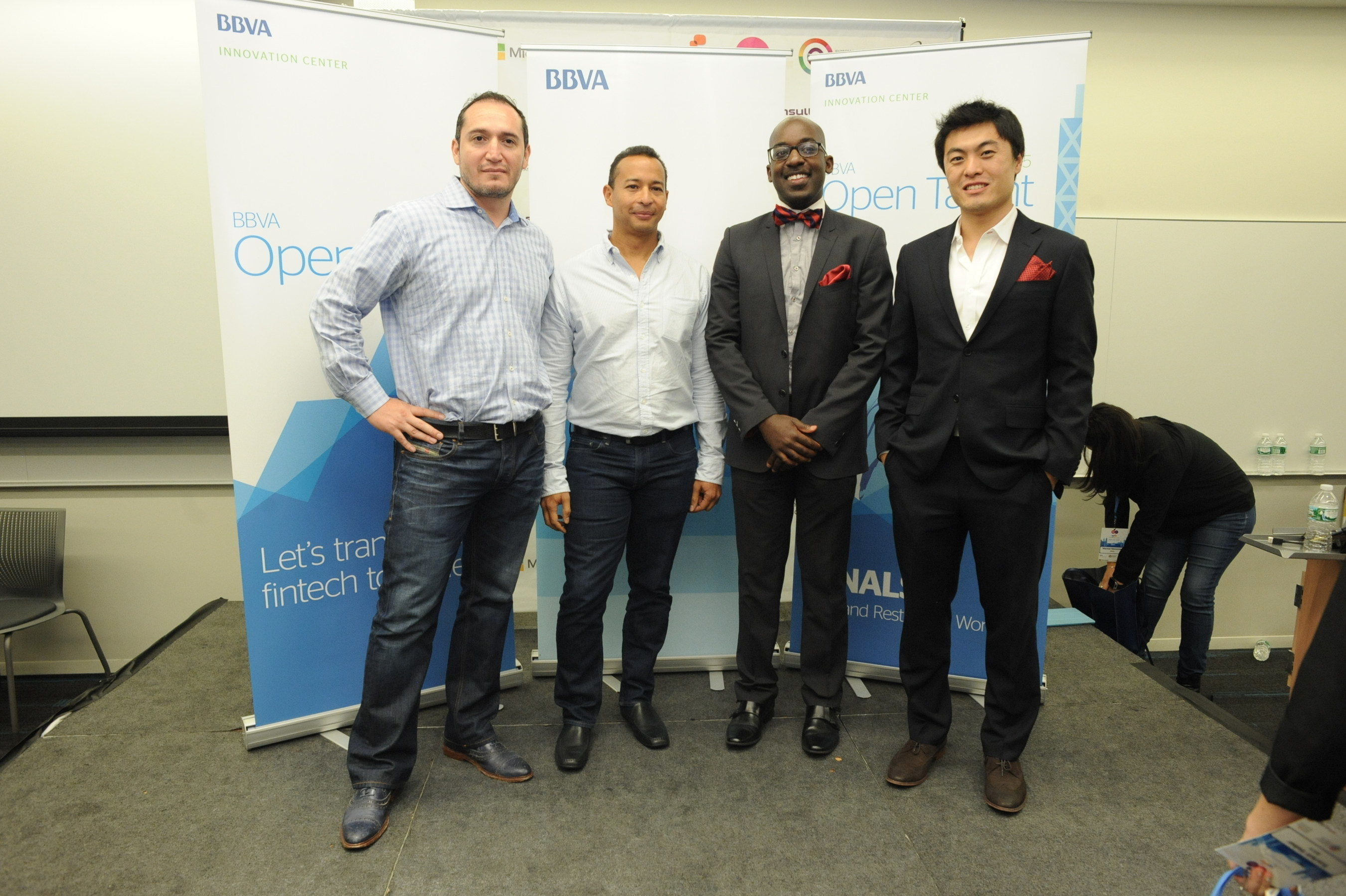 (l-r) LendingFront CEO and co-founder Jorge Sun, LendingFront CTO and co-founder Dario Vergara, ModernLend co-founder Kobina Ansah, ModernLend co-founder Shuo Zhang