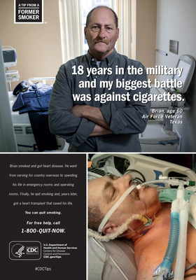 By age 11, Brian was smoking close to a pack a day. He joined the Air Force after high school and continued to smoke heavily. At age 35, while stationed in England, Brian had a heart attack. In this print ad, Brian reveals his toughest battle.