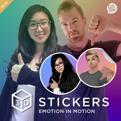 IMVU 3D Stickers use personalized avatars to bring your conversation to life.