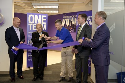Phil Fernandez, CEO of Marketo, and Sam Massell, president of the Buckhead Coalition and former Mayor of Atlanta, unveil Marketo's new offices in Atlanta.