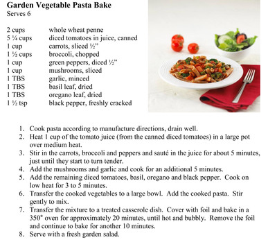 Garden Vegetable Pasta Bake Recipe.  (PRNewsFoto/Sodexo, Inc., Beth McCracken)