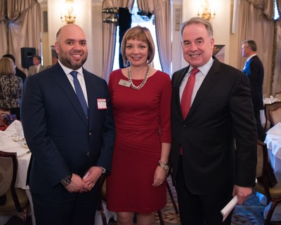 His Excellency Majid Al Suwaidi Consul General United Arab Emirates in New York (left), Mary Ellen Jones, The Wings Club President and Vice President, Sales - Asia Pacific and China, Pratt & Whitney (middle), James Hogan, President and Chief Executive Officer of Etihad Airways (right) at The Wings Club Luncheon at The Yale Club on April 21, 2016 in New York, NY.