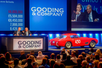 1957 Ferrari 250 GT 14-Louver Berlinetta. Sold for $9,460,000, a world auction record for a Ferrari 250 Tour de France. Image copyright and courtesy of Gooding & Company. Photo by Eric Fairchild.  (PRNewsFoto/Gooding & Company)