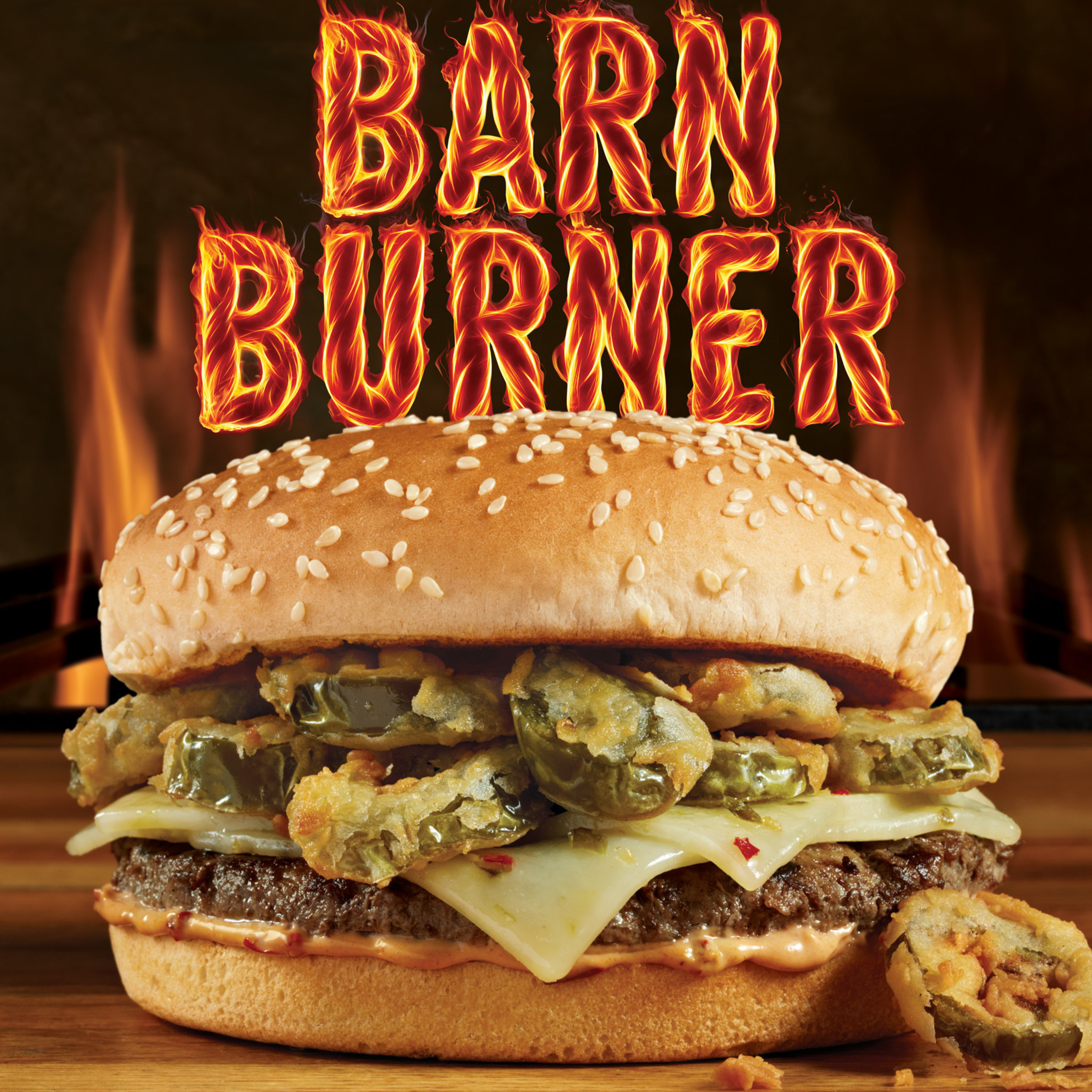Fire-grilled beef, pepper jack cheese, crispy jalapeno hot wheels and fiery farmer's sauce. This one is smokin' hot.