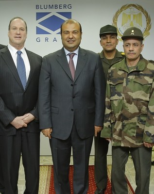 Philip F. Blumberg, Chairman and Chief Executive Officer of Blumberg Partners (left) and Dr. Khaled Hanafy, Minister of Supply and Internal Trade (second from left) visit the Blumberg Grain Command and Control Center in Cairo in December.