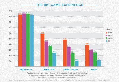 According to 2013 Hanon McKendry study, conducted by Harris Interactive, considerably higher percentages of 18-34 year old Super Bowl viewers say screens other than television are at least somewhat important in order for them to have the best overall Super Bowl experience, when compared to viewers in other age groups.  (PRNewsFoto/Hanon McKendry)