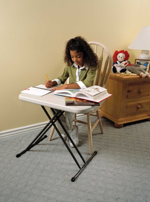 A small folding table such as a Lifetime Personal Table that adjusts in height is the perfect size for a student desk and it can easily be folded and stored on the weekends when homework is out of sight.  (PRNewsFoto/Lifetime Products)