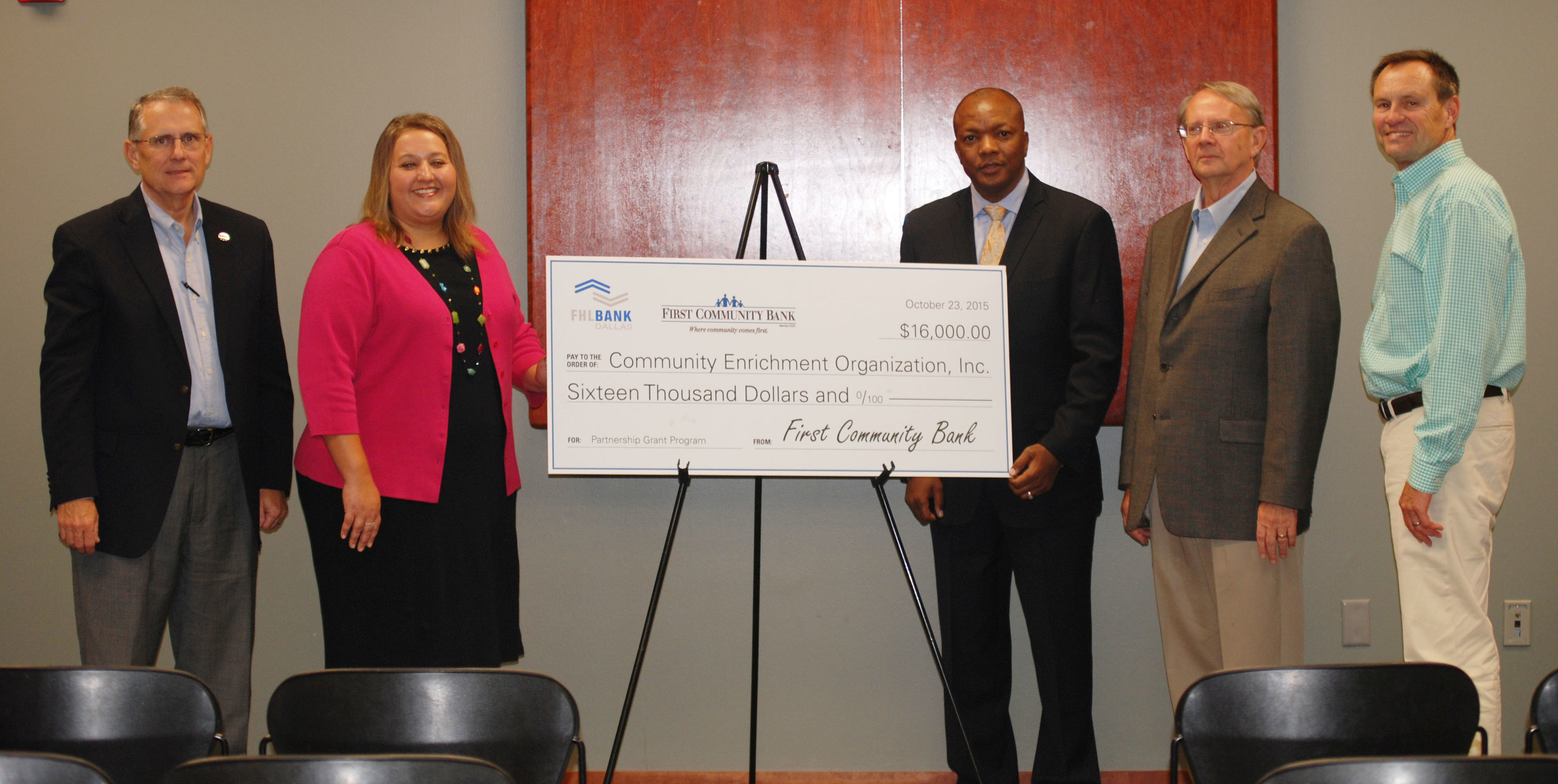 The Community Enrichment Organization, a Batesville, Arkansas-based nonprofit, received a $16,000 Partnership Grant Program award last week in a presentation that included representatives from First Community Bank and the Federal Home Loan Bank of Dallas. The funds will be used to train and hire staff members for the nonprofit's new family-focused homeless shelter.