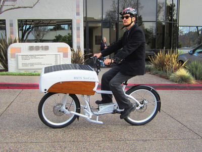 NTS Works SunCycle cargo bike captures solar power to augment it's carrying capacities. https://www.ntsworks.com/suncycle. (PRNewsFoto/NTS Works)