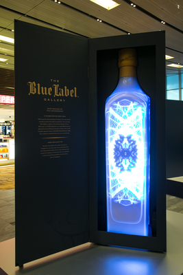 Artist Brandon Tay's 3D artwork showcased at the launch of the JOHNNIE WALKER Blue Label Gallery in Singapore Changi Airport