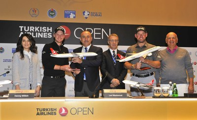 From left to right:   Senior Vice President of Turkish Airlines Ms. Seda Kalyoncu, Danny Willett, Turkey's Minister of Foreign Affairs Mr. Mevlüt Çavusoglu, President of Turkish Golf Federation Mr. Ahmet Agaoglu, Lee Westwood, Chairman of Regnum Carya Golf&Spa Resort Mr. Fikret Öztürk