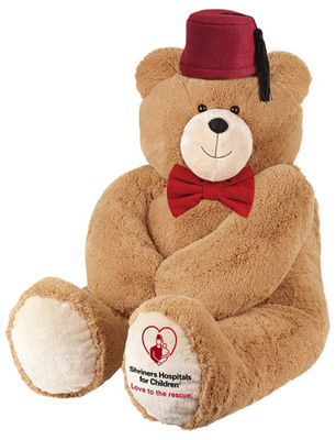 On National American Teddy Bear Day, Shriners Hospitals for Children(R) introduces Fezzy, its first Love to the rescue(R) Ambassador.  Fezzy, who proudly wears the iconic Shriner red fez, has a mission to raise awareness and support for the innovative and life-changing care available at Shriners Hospitals for Children.   Fezzy is available for purchase at: www.shrinershospitalsforchildren.org/Fezzy.  (PRNewsFoto/Shriners Hospitals for Children)