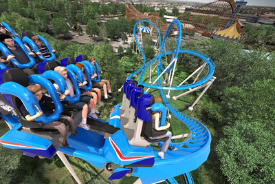 A rendering of the floorless Patriot roller coaster coming to California's Great America in 2017.
