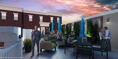 The rooftop terrace at 221 Bergen is accessible 24/7 to residents and features comfortable furnishings including tables with umbrellas.