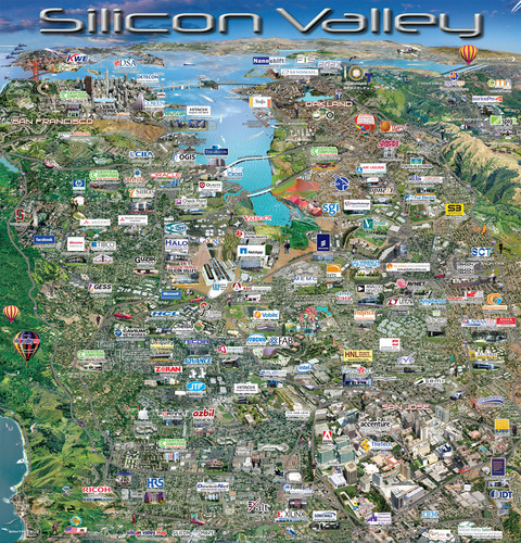 Silicon Valley Map Silicon Valley Map Highlights the Who's Who of the World Renowned  Silicon Valley Map