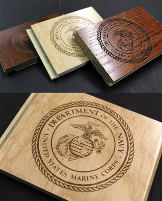 The seal of the U.S. Navy laser engraved on a variety of hardwoods. Photo courtesy of AP Lazer.