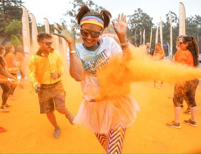 International recording artist, Melanie Brown, gets messy while running The Color Run(TM) sponsored by Shout(R) at Dodger Stadium in Los Angeles. (Chelsea Lauren/ Getty Images for SC Johnson)