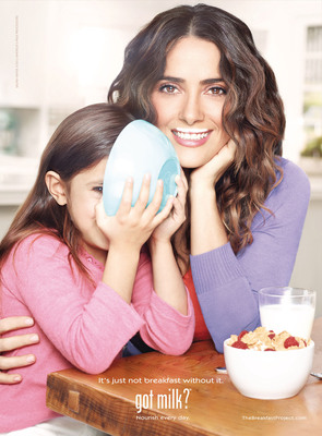 THE BREAKFAST PROJECT AIMS TO MAKE OVER AMERICA'S MORNINGS, HELP UPGRADE THE A.M. ROUTINE IN THIS COUNTRY -- Salma Hayek and Ellie Krieger Help Kick Off New Campaign to Show How Every Good Day Starts With Milk.  (PRNewsFoto/MilkPEP)