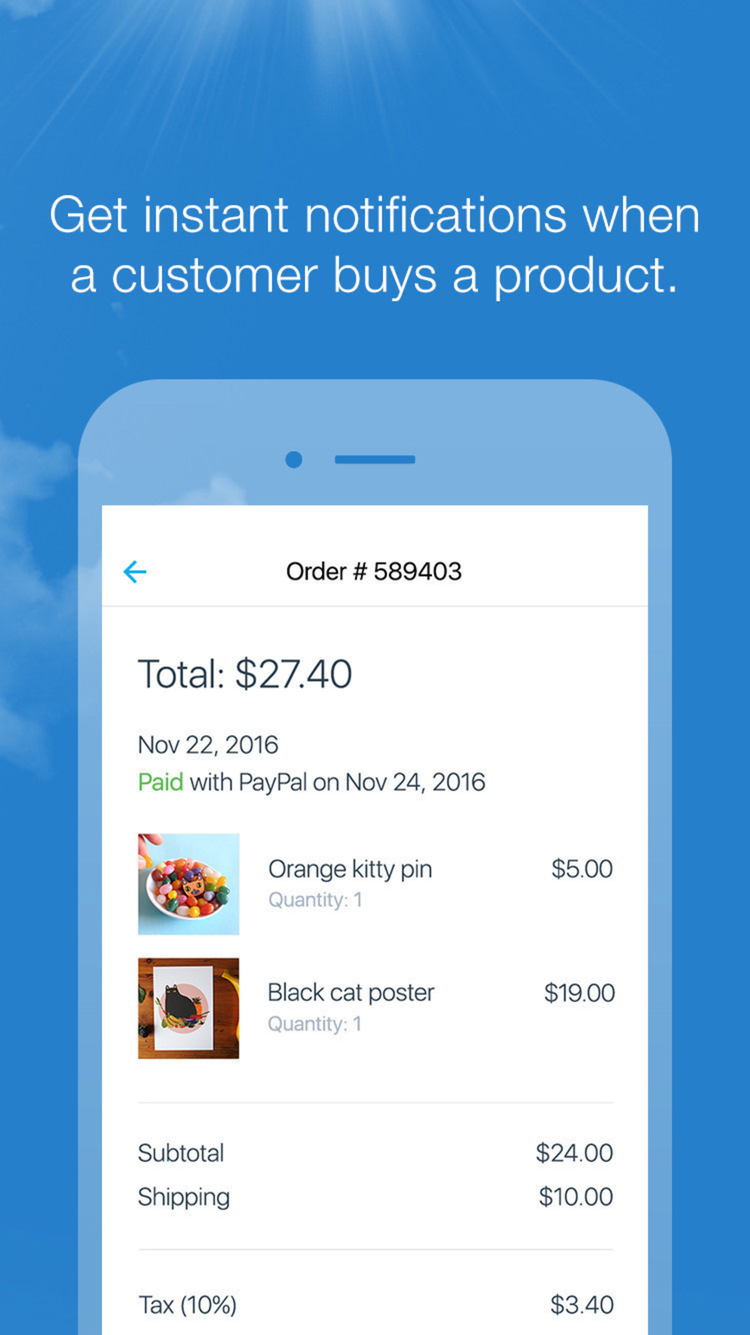 Manage Your Store - Snap a product photo and add it to your online store with just a click