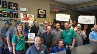 Caliber Collision associates and friends celebrate the success of the company's 5th annual Rhythm Restoration Food Drive that raised over $334,000 and collected thousands of pounds of food, resulting in a record 3.1 million meals for 37 food banks across the country