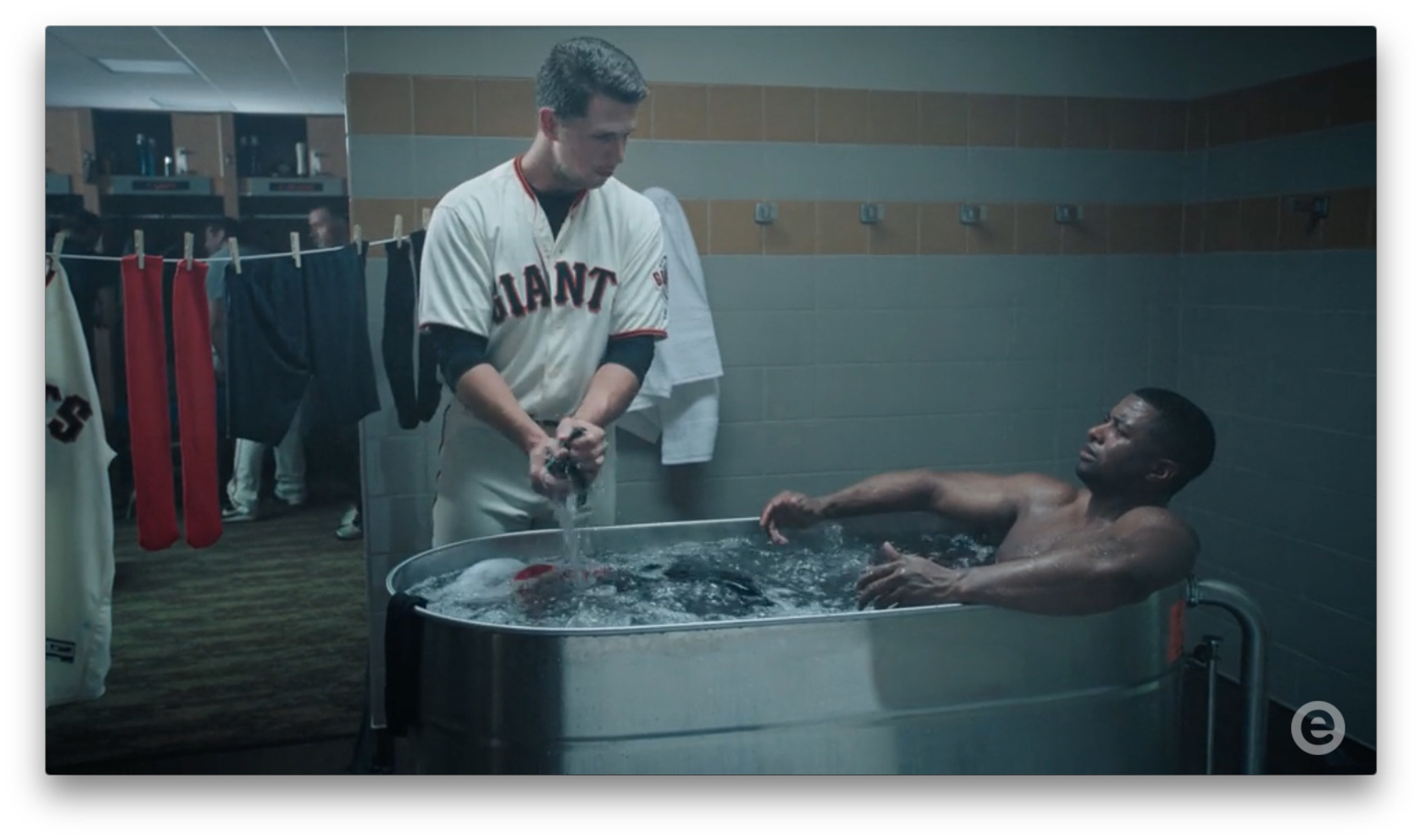 Buster Posey, Giants baseball player, in new Esurance commercial.