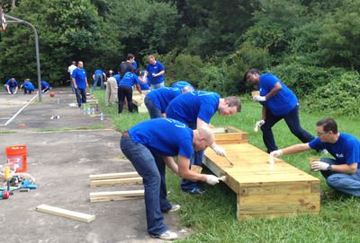 Belk associates work on projects at Reid Park Academy in Charlotte, N.C.