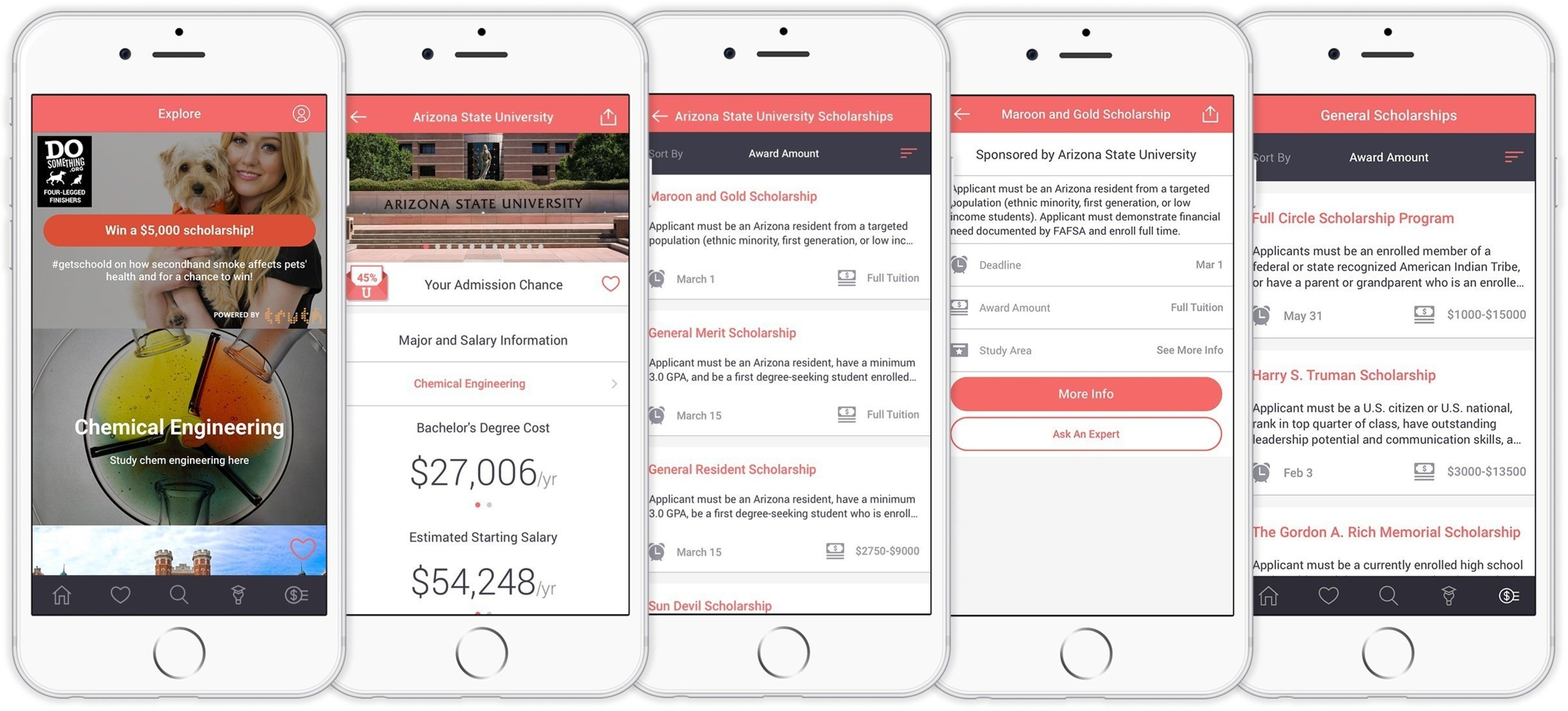 From each college profile, Schoold users can see projected salary outcomes by major, as well as scholarship listings and other useful tools to evaluate a return on education investment for tuition dollars.